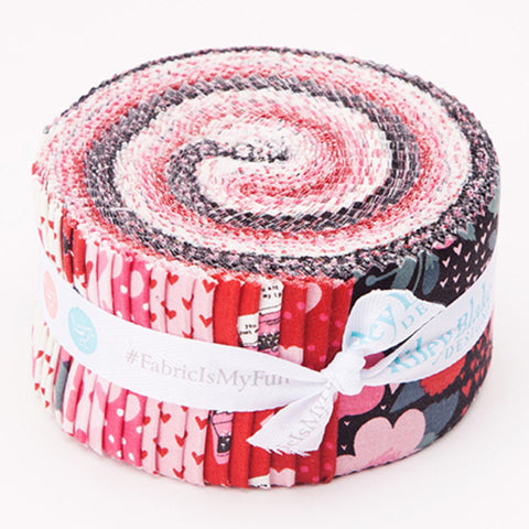 Hello Sweetheart 2.5-Inch Rolie Polie Jelly Roll 40 pieces Riley Blake Designs - Precut Bundle - Valentine's - Quilting Cotton Fabric