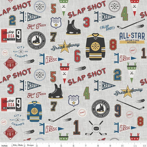 Varsity Hockey Main Gray - Riley Blake Designs - Sports Jerseys Skates Sticks - Quilting Cotton Fabric
