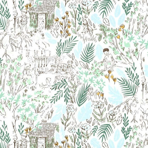 Peter Pan - The Little House - Fern - Sarah Jane - Michael Miller - Jersey KNIT cotton lycra stretch fabric