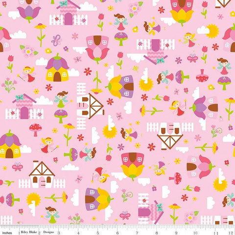 Fairy Garden Main Pink - Riley Blake Designs - Fairies Houses Toadstools Flowers - Quilting Cotton Fabric