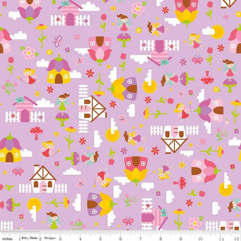 SALE Fairy Garden Main Purple - Riley Blake Designs - Fairies Houses Toadstools Flowers - Quilting Cotton Fabric