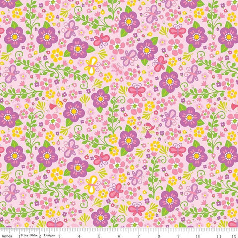 "Fairy Garden Garden Pink - Riley Blake Designs - Butterflies Flowers - Quilting Cotton Fabric - 1 yard 34"" end of bolt piece"