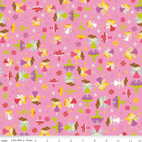 Fairy Garden Toss Pink - Riley Blake Designs - Fairies Toadstools Flowers - Quilting Cotton Fabric - fat quarter