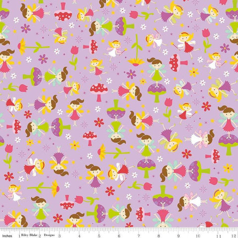 Fairy Garden Toss Purple - Riley Blake Designs - Fairies Toadstools Flowers - Quilting Cotton Fabric
