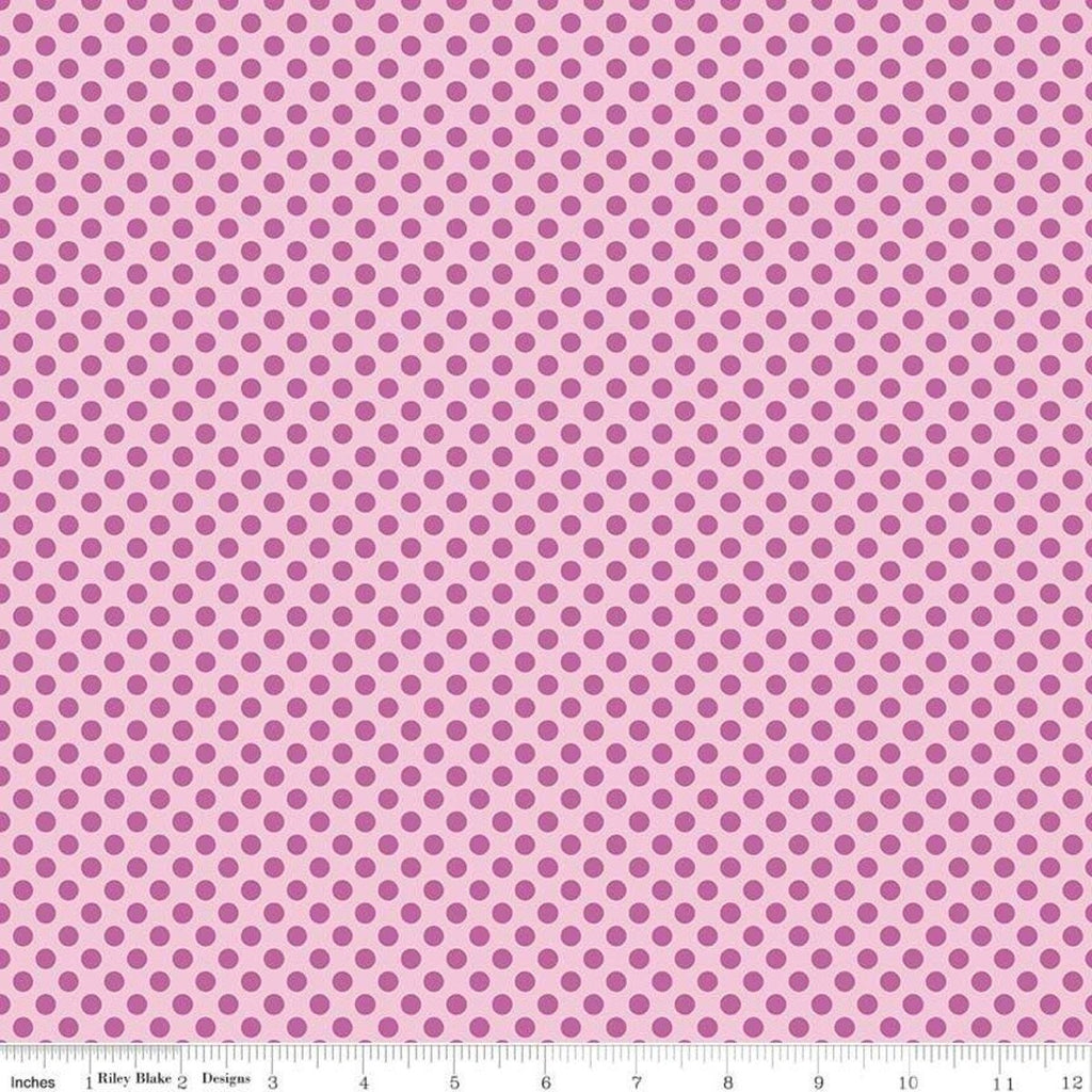 "Fairy Garden Dot Pink - Riley Blake Designs - Tone on Tone Polka Dots - Quilting Cotton Fabric - 1 yard 20"" end of bolt piece"