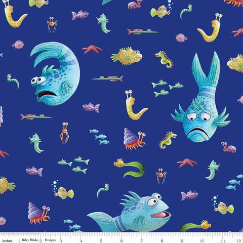 The Pout-Pout Fish Main Blue - Riley Blake Designs - Underwater Friends - Quilting Cotton Fabric