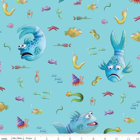 The Pout-Pout Fish Main Aqua - Riley Blake Designs - Blue Underwater Friends - Quilting Cotton Fabric