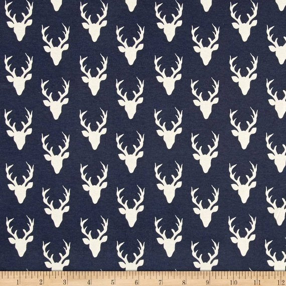 Hello Bear Tiny Buck Forest Twilight - Art Gallery - Navy Blue Small Deer Head -Jersey KNIT cotton lycra fabric - choose your cut