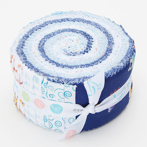 SALE The Pout-Pout Fish 2.5-Inch Rolie Polie Jelly Roll 40 pieces Riley Blake Designs - Precut Bundle - Quilting Cotton Fabric