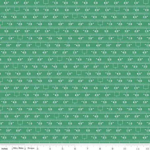 Varsity Football Field Green - Riley Blake Designs - Sports Yard Line Markings - Quilting Cotton Fabric