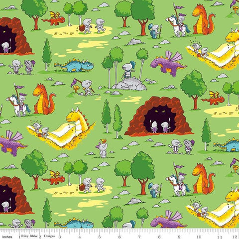 "Dragons Fun Green - Riley Blake Designs - Knights Adventures  - Quilting Cotton Fabric - 1 yard 23"" end of bolt piece"