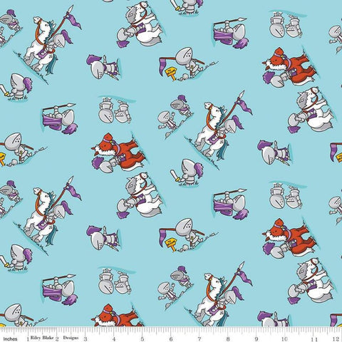 SALE Dragons Knights Blue - Riley Blake Designs -  Horses Steeds - Quilting Cotton Fabric