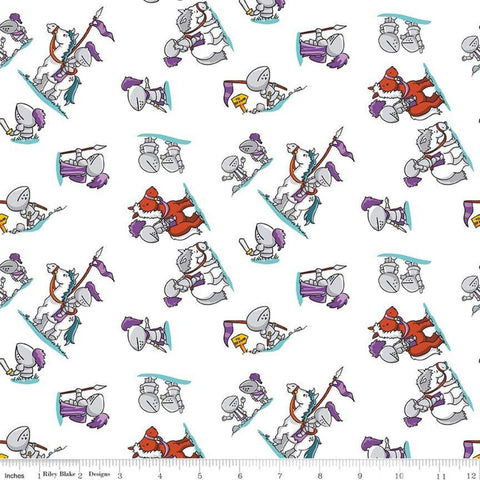 SALE Dragons Knights White - Riley Blake Designs -  Horses Steeds - Quilting Cotton Fabric