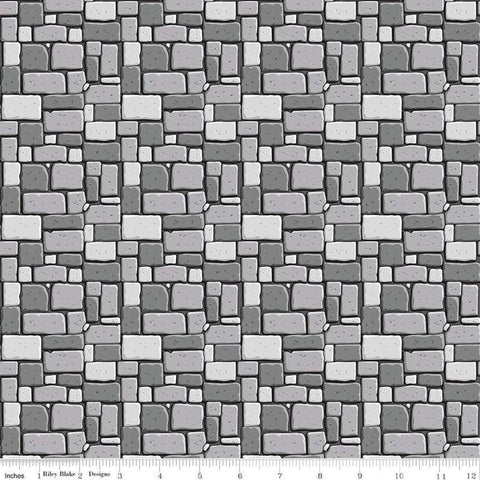 SALE Dragons Rock Gray - Riley Blake Designs - Stone Wall - Quilting Cotton Fabric