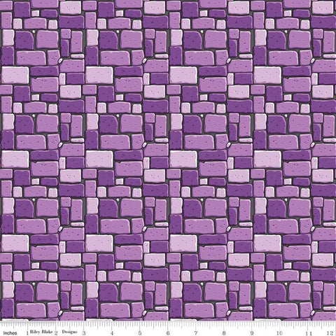 SALE Dragons Rock Purple - Riley Blake Designs - Stone Wall - Quilting Cotton Fabric