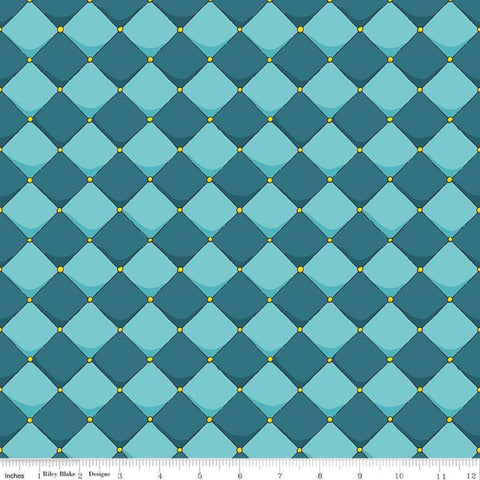 Dragons Checkered Blue - Riley Blake Designs - Checkerboard Diamonds - Quilting Cotton Fabric