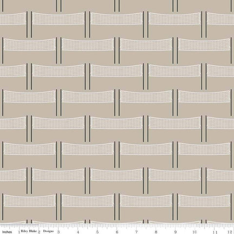 Varsity Volleyball Net Tan - Riley Blake Designs - Brown - Quilting Cotton Fabric