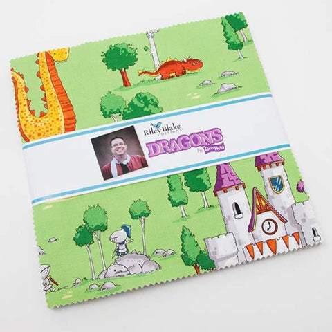 "Dragons Layer Cake 10"" Stacker Bundle - Riley Blake Designs - 42 piece Precut Pre cut - Knights Castles - Quilting Cotton Fabric"