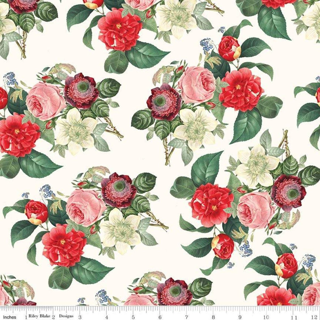 SALE In Bloom Main Cream - Riley Blake Designs - Floral - Quilting Cotton Fabric