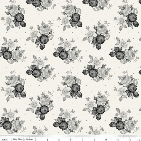 In Bloom Botanical Cream SPARKLE - Riley Blake Designs - Gray Gold Metallic Floral  Flowers- Quilting Cotton Fabric