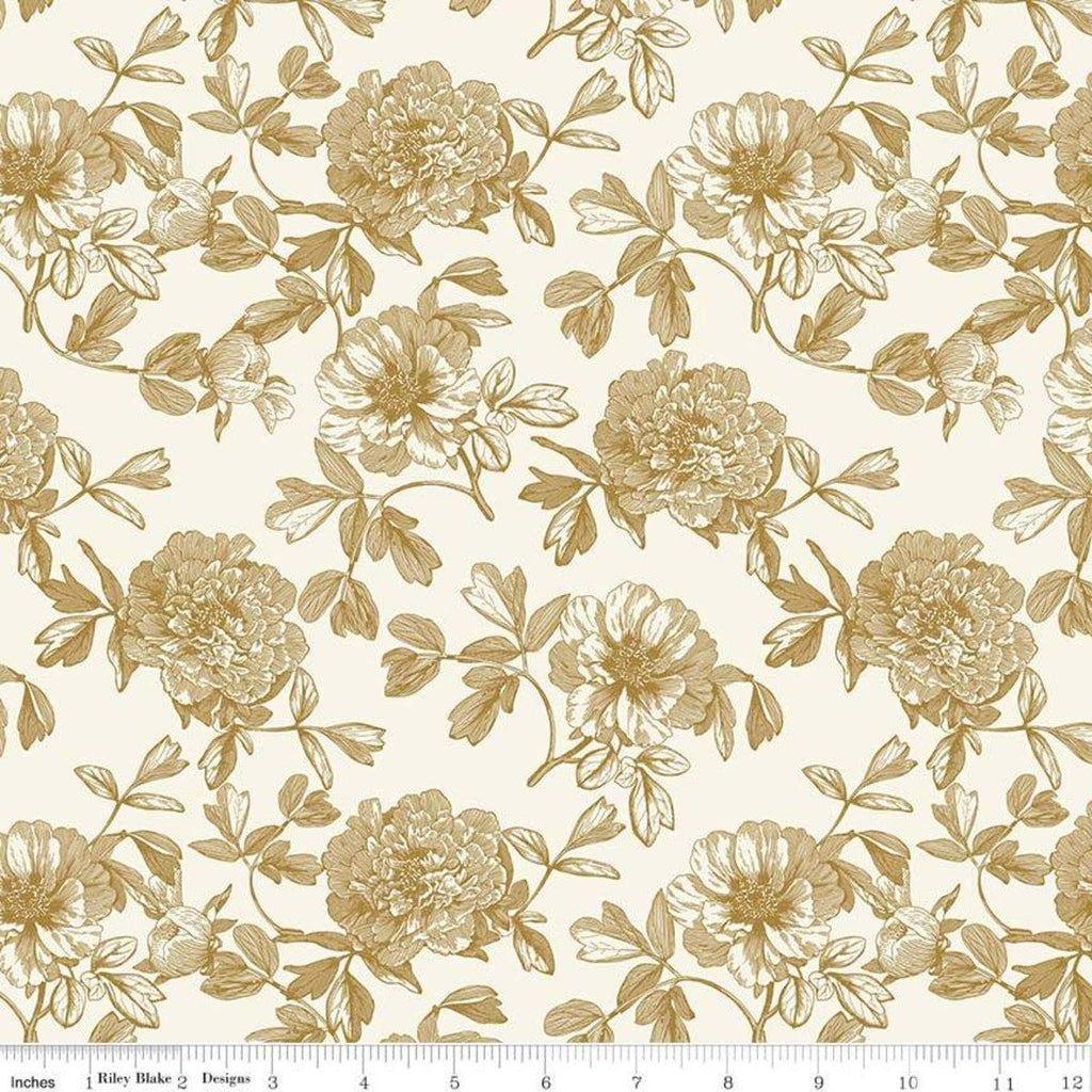 SALE In Bloom Tonal Cream SPARKLE - Riley Blake Designs - Gold Metallic Floral  Flowers- Quilting Cotton Fabric