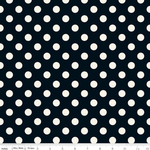 SALE In Bloom Dot Black - Riley Blake Designs - Cream dots on black - Quilting Cotton Fabric