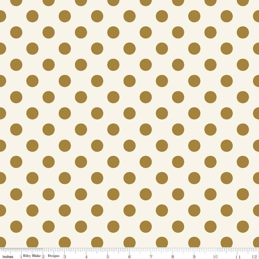 In Bloom Dot Gold SPARKLE - Riley Blake Designs - Gold Metallic - Quilting Cotton Fabric