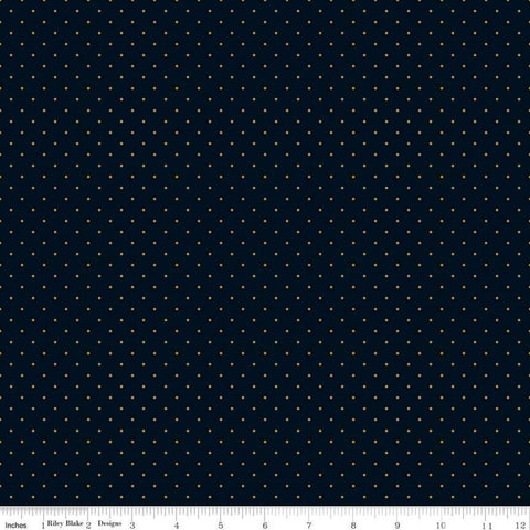 "In Bloom Mini Dot Black SPARKLE - Riley Blake Designs - Pin Dot Gold Metallic - Quilting Cotton Fabric - 1 yard 10"" end of bolt piece"