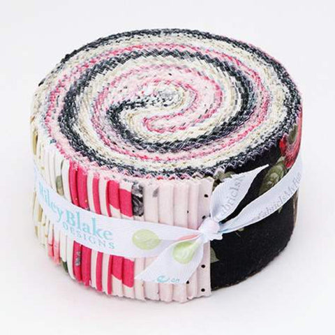 SALE In Bloom 2.5-Inch Rolie Polie Jelly Roll 40 pieces Riley Blake Designs - Precut Bundle - Gold Sparkle - Quilting Cotton Fabric