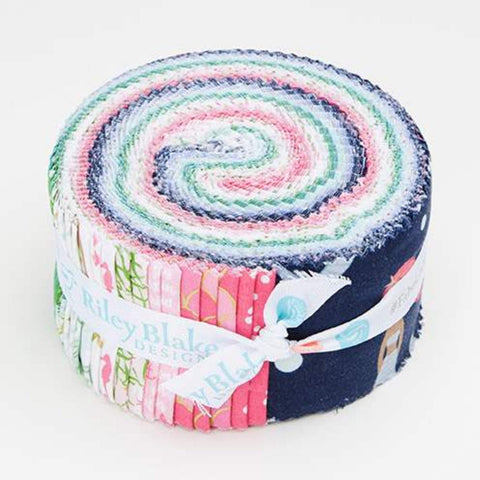 Let's Be Mermaids 2.5-Inch Rolie Polie Jelly Roll 40 pieces Riley Blake Designs - Precut Bundle - Gold Sparkle - Quilting Cotton Fabric