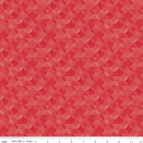 SALE Crayola Kaleidoscope Jazzberry Jam - Riley Blake Designs - Red Orange Peel Circle Pattern - Quilting Cotton Fabric
