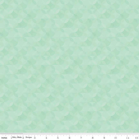 SALE Crayola Kaleidoscope Magic Mint - Riley Blake Designs - Green Orange Peel Circle Pattern - Quilting Cotton Fabric