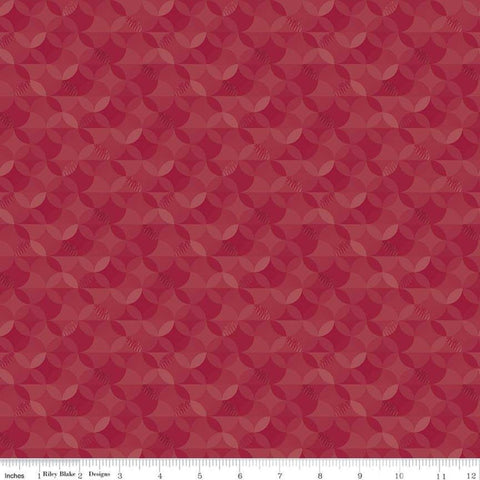 SALE Crayola Kaleidoscope Mahogany - Riley Blake Designs - Red Orange Peel Circle Pattern - Quilting Cotton Fabric