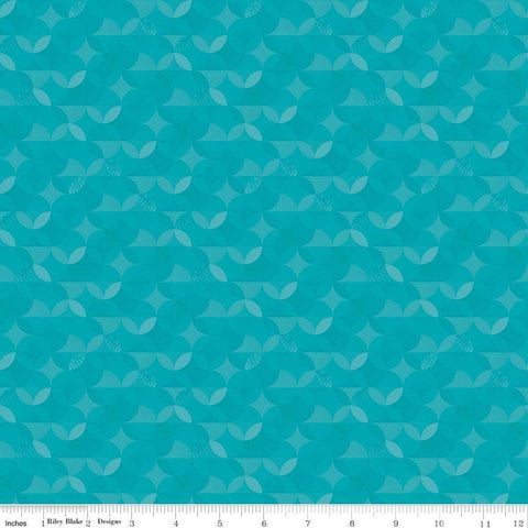 SALE Crayola Kaleidoscope Mermaid Tail - Riley Blake Designs - Aqua Orange Peel Circle Pattern - Quilting Cotton Fabric