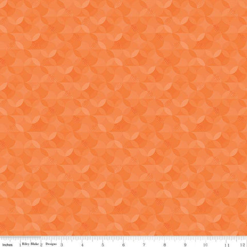 SALE Crayola Kaleidoscope Outrageous Orange - Riley Blake Designs - Orange Peel Circle Pattern - Quilting Cotton Fabric