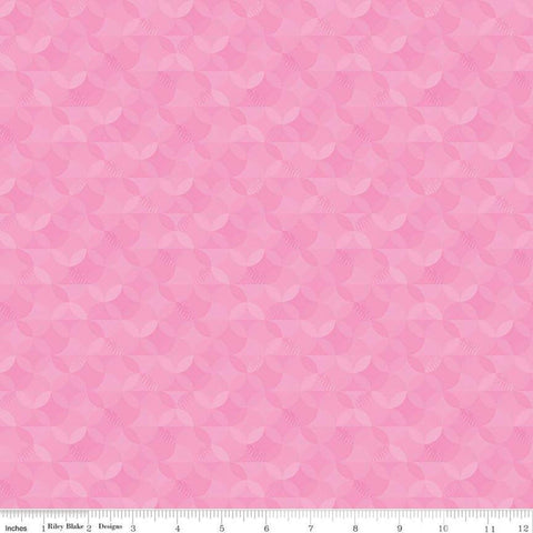 SALE Crayola Kaleidoscope Piggy Pink - Riley Blake Designs - Pink Orange Peel Circle Pattern - Quilting Cotton Fabric