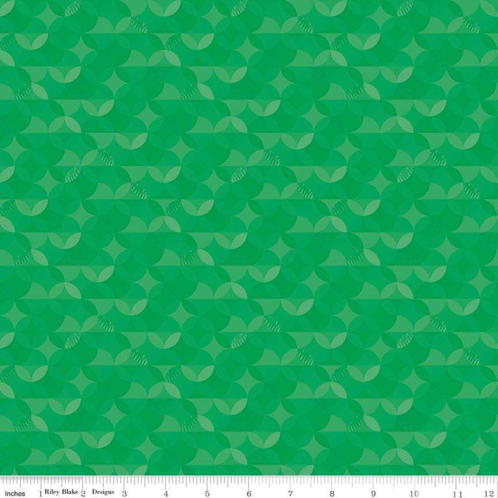 SALE Crayola Kaleidoscope Shamrock - Riley Blake Designs - Green Orange Peel Circle Pattern - Quilting Cotton Fabric