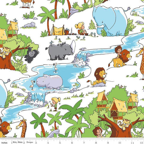 Tarzanimals Main White - Riley Blake Designs - Jungle Animals Tarzan Jane - Quilting Cotton Fabric