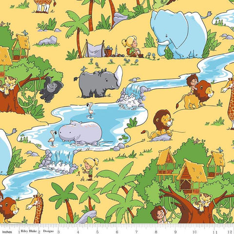 Tarzanimals Main Yellow - Riley Blake Designs - Jungle Animals Tarzan Jane - Quilting Cotton Fabric