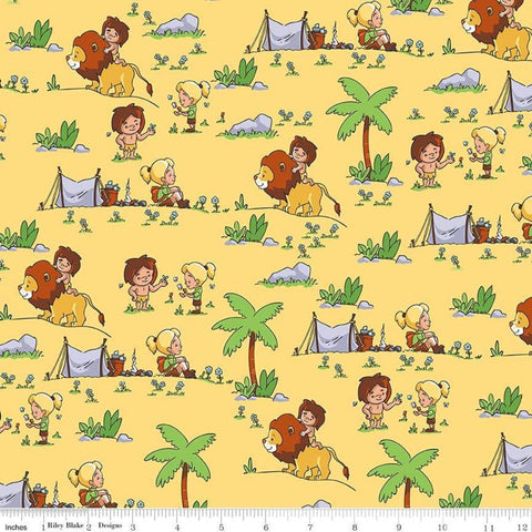 Tarzanimals Tarzan and Jane Yellow - Riley Blake Designs - Jungle Animals Lions - Quilting Cotton Fabric