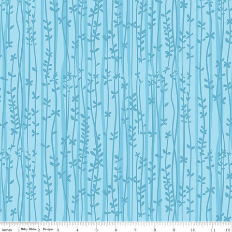 SALE Tarzanimals Vines Blue - Riley Blake Designs - Jungle Floral Leaves - Quilting Cotton Fabric