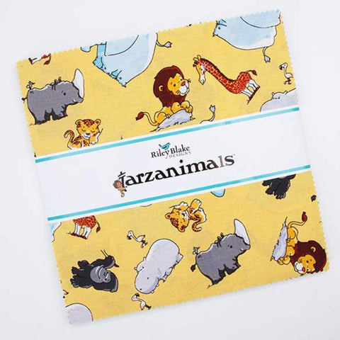 "Tarzanimals Layer Cake 10"" Stacker Bundle - Riley Blake Designs - 42 piece Precut Pre cut - Jungle Tarzan Jane - Quilting Cotton Fabric"
