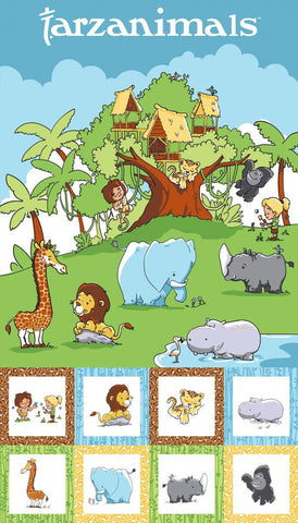 SALE Tarzanimals Panel Multi - Riley Blake Designs - Jungle Animals Tarzan Jane Treehouse - Quilting Cotton Fabric