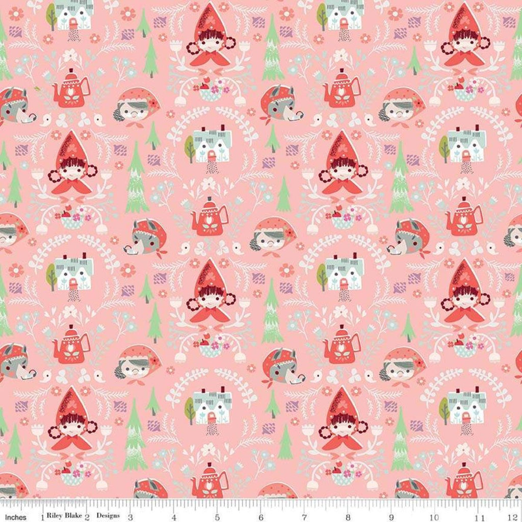 Little Red in the Woods Damask Pink - Riley Blake Designs - Red Riding Hood Grandma Wolf -  Quilting Cotton Fabric