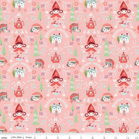 SALE Little Red in the Woods Damask Pink - Riley Blake Designs - Red Riding Hood Grandma Wolf -  Quilting Cotton Fabric - choose your cut