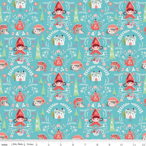 SALE Little Red in the Woods Damask Teal - Riley Blake Designs - Red Riding Hood Grandma Wolf Blue -  Quilting Cotton Fabric-choose your cut