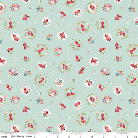 Little Red in the Woods Tossed Mint - Riley Blake Designs - Little Red Riding Hood Green -  Quilting Cotton Fabric