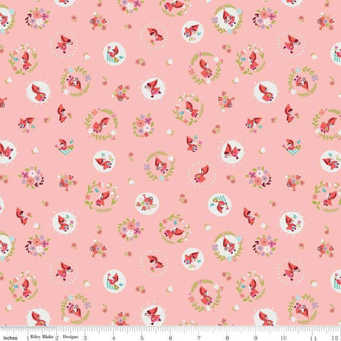 "Little Red in the Woods Tossed Pink - Riley Blake Designs - Little Red Riding Hood -  Quilting Cotton Fabric - 1 yard 22"" end of bolt piece"
