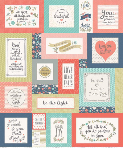 Heart and Soul Digital Quilt Top Panel Multi by Riley Blake Designs - Inspirational Sayings  - Quilting Cotton Fabric