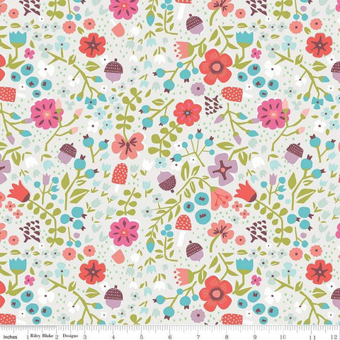 SALE Little Red in the Woods Floral Cream - Riley Blake Designs - Flowers Mushrooms Acorns -  Quilting Cotton Fabric - choose your cut